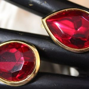 TRIFARI TM Jewelry - TRIFARI TM SIGNED RED GLASS  EARRINGS